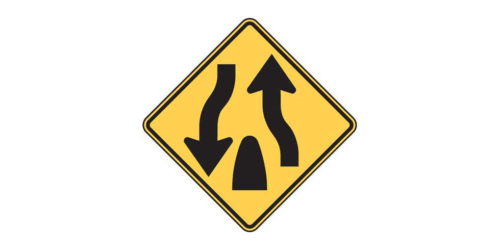 Road Signs and Their Meanings: Divided Highway Ends
