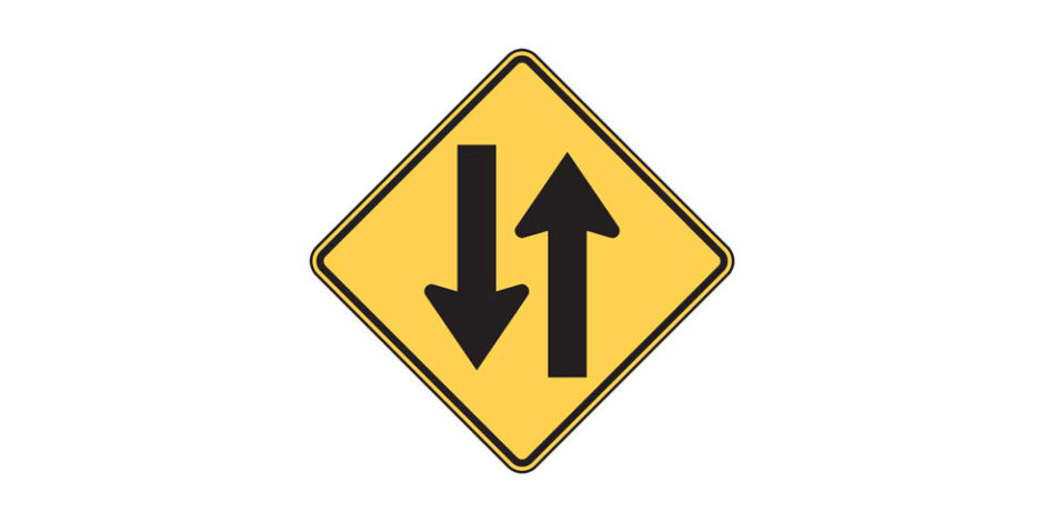 W6-3 Two-Way Traffic Sign